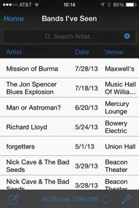 Bands I've Seen database